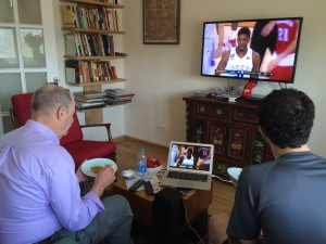 Beijing fried matzah Passover breakfast for Eli and Jonathan while they watch Wisconsin Badgers in the NCAA Final Four.