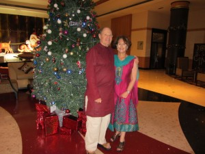 Hotel lobby at 7:30 am. Talk about diversity: Indian wedding garb, Christmas tree, Jewish guests!